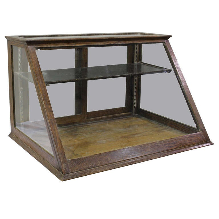Antique Oak Counter Display Cabinet Showcase At 1stdibs