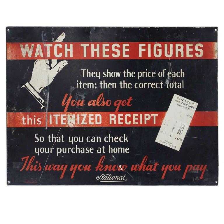 1930's Advertising Sign For National Cash Register Co
