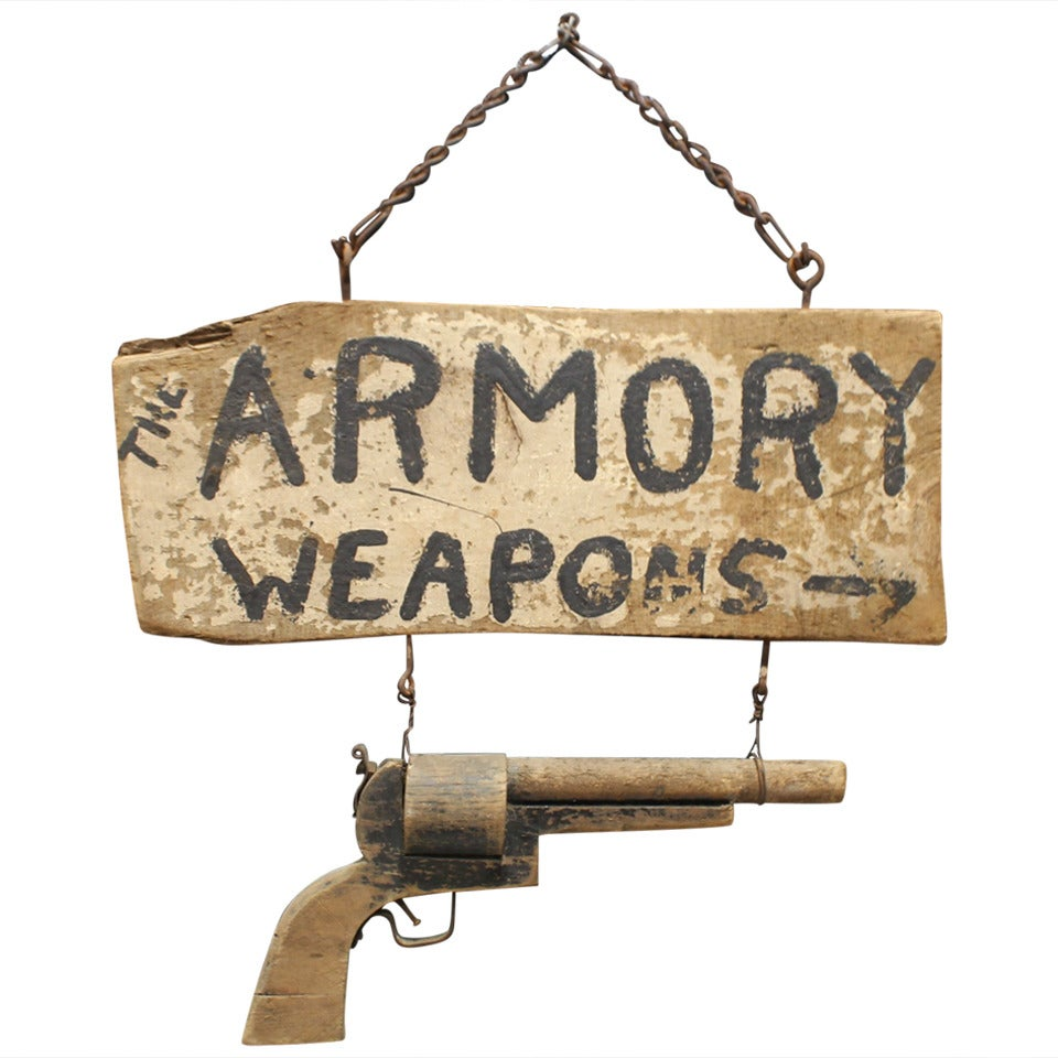 Antique Original Wooden Sign Quot Armory Weapons Quot At 1stdibs