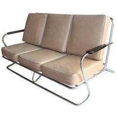 Art Deco Tubular Chrome Sofa in the style of Kem Weber