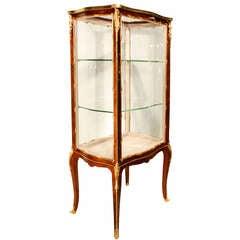 French 19th century  Louis XV st. tuplipwood  vitrine