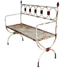 Antique French Metal Garden Bench