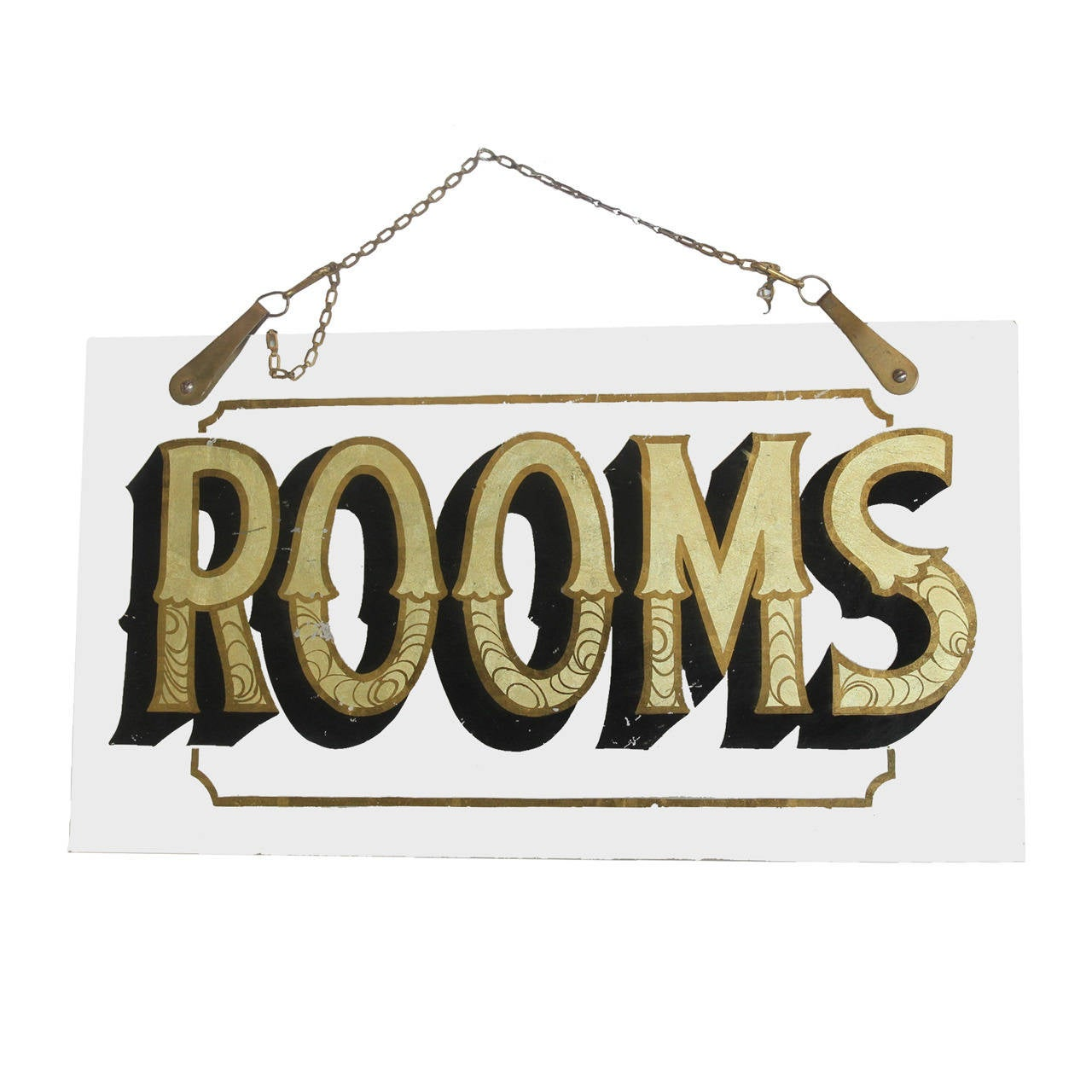 "Antique Reverse Painted Glass Sign, ""Rooms"""