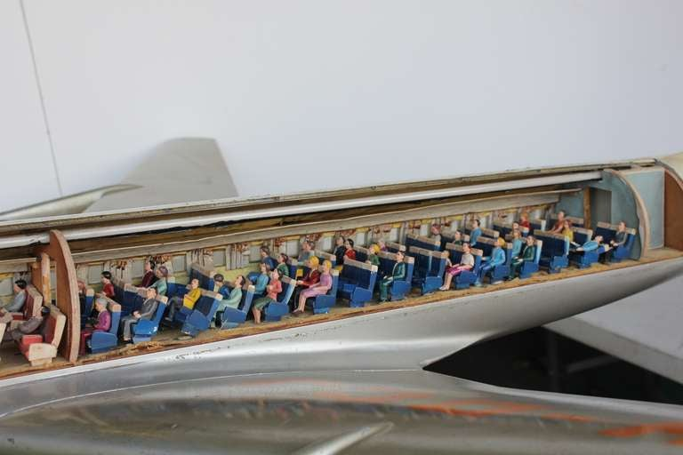 original vintage travel agency advertising airplane for