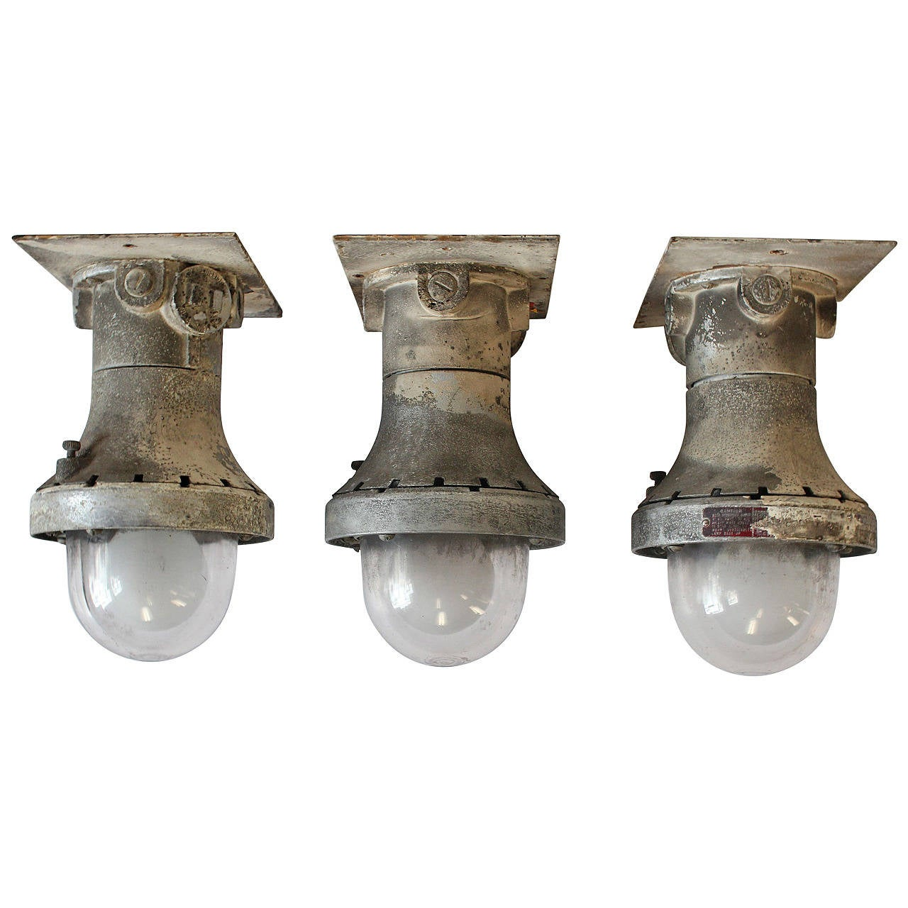 1930s Explosion Proof Industrial Flush Mount/Wall Sconces, Three Available at 1stdibs