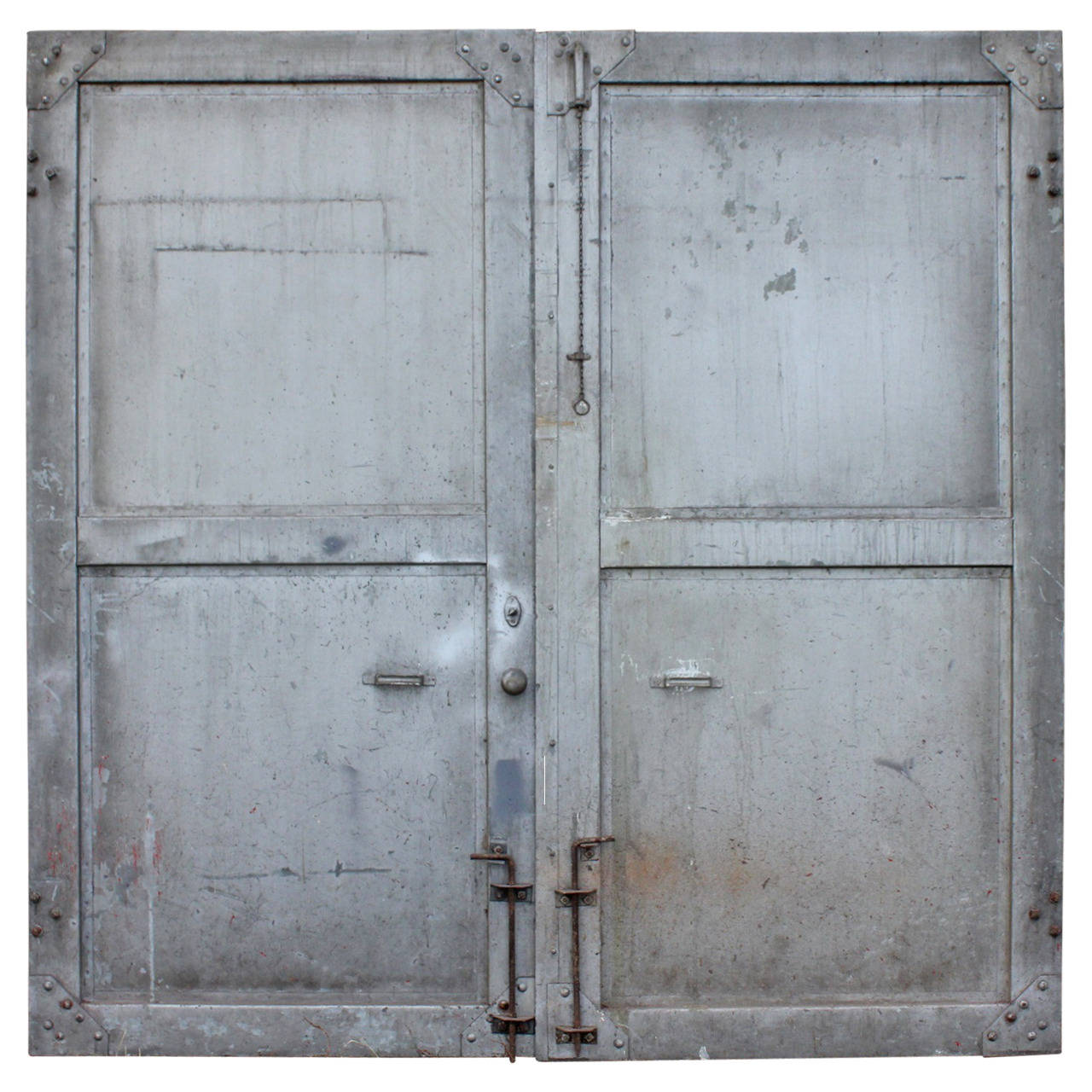 Double Steel Doors : Antique double metal industrial doors at stdibs