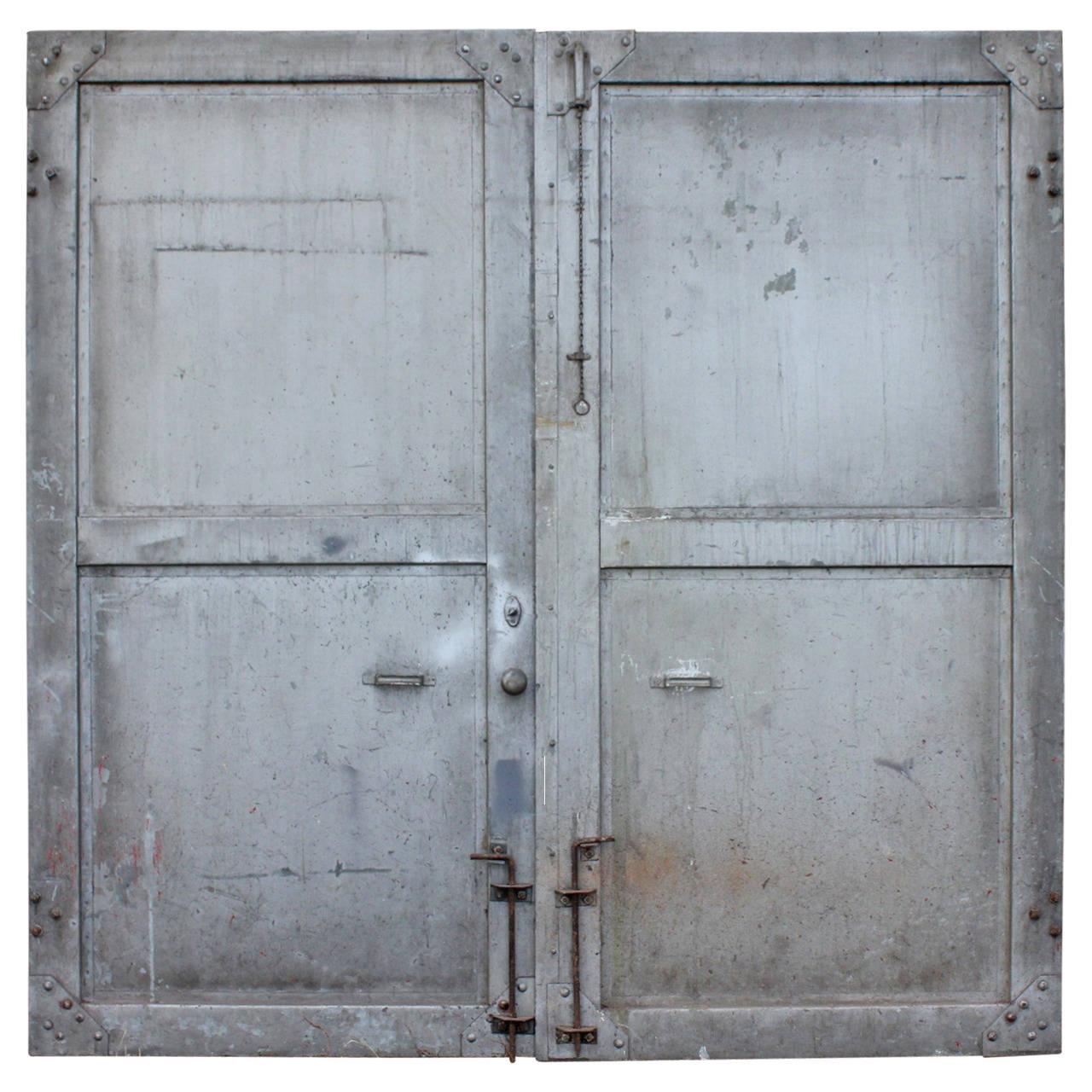 Antique double metal industrial doors at 1stdibs for Double steel entry doors