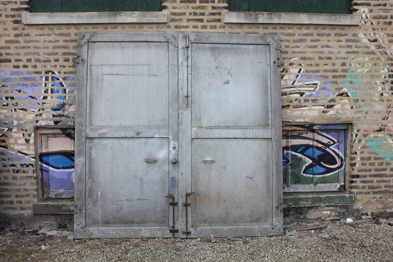 Vintage Industrial Metal Doors : Antique double metal industrial doors at stdibs