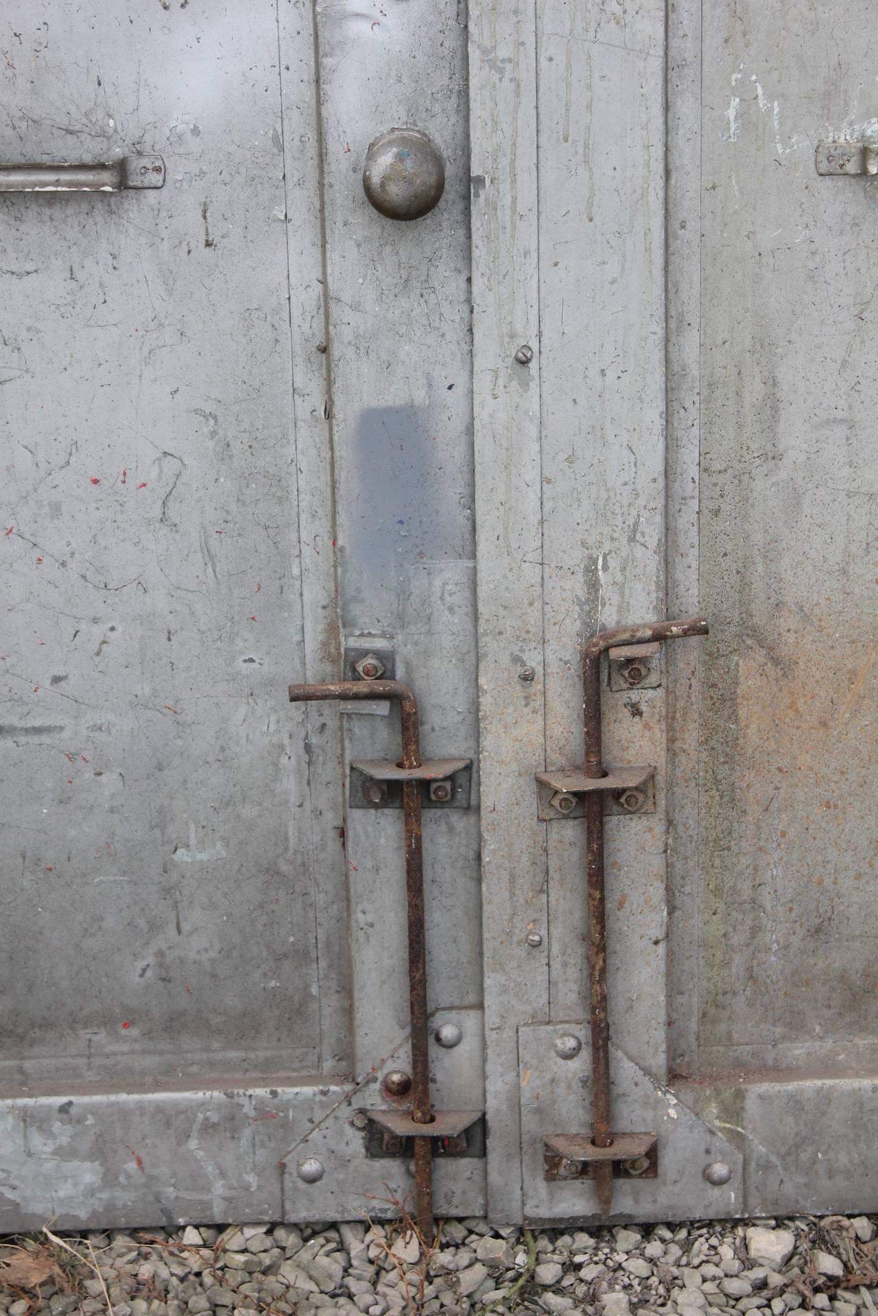 Vintage Industrial Doors : Antique double metal industrial doors at stdibs