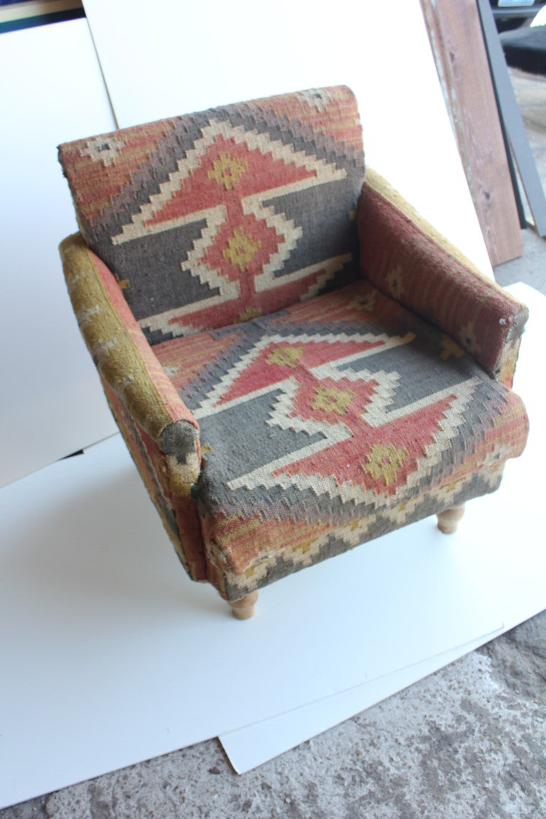 Vintage Rustic Hand Woven Kilim Chair At 1stdibs