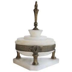 Antique Alabaster & Brass Box