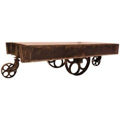 Stylish Antique American Industrial Steel Cart or Coffee Table