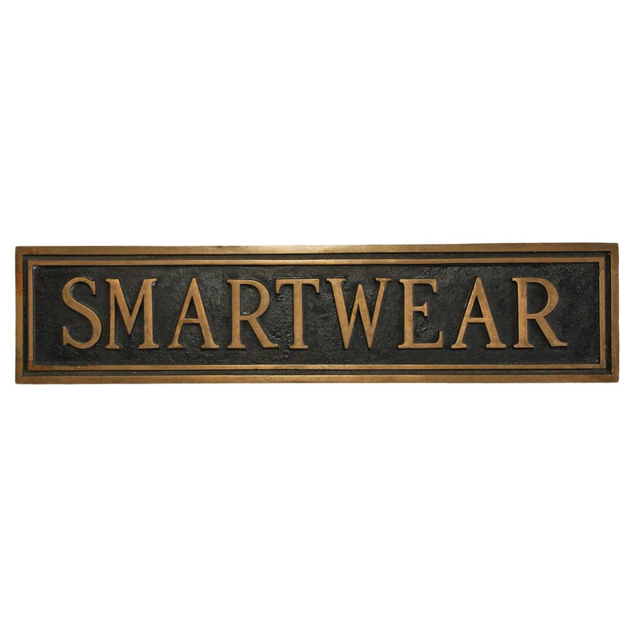 """Vintage Brass Department Store Sign, """"Smartwear"""""""