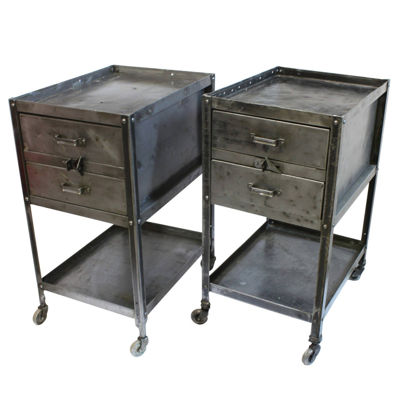 1940s American Industrial Metal Side Tables By Lyon Co At 1stdibs