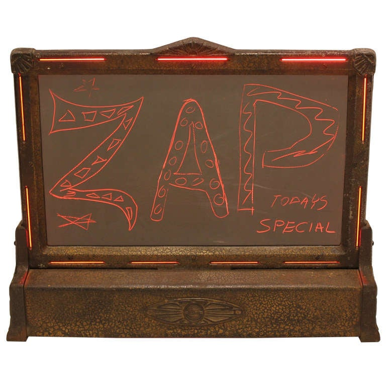 Art deco stewart warner write in urself display sign for Art deco writing