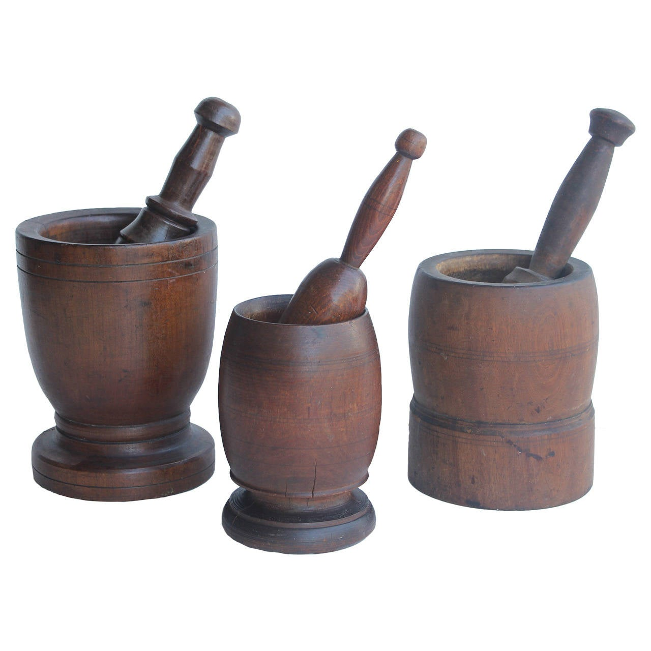 Collection Of Antique Wood Mortars & Pestles For Sale