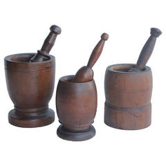 Collection Of Antique Wood Mortars & Pestles