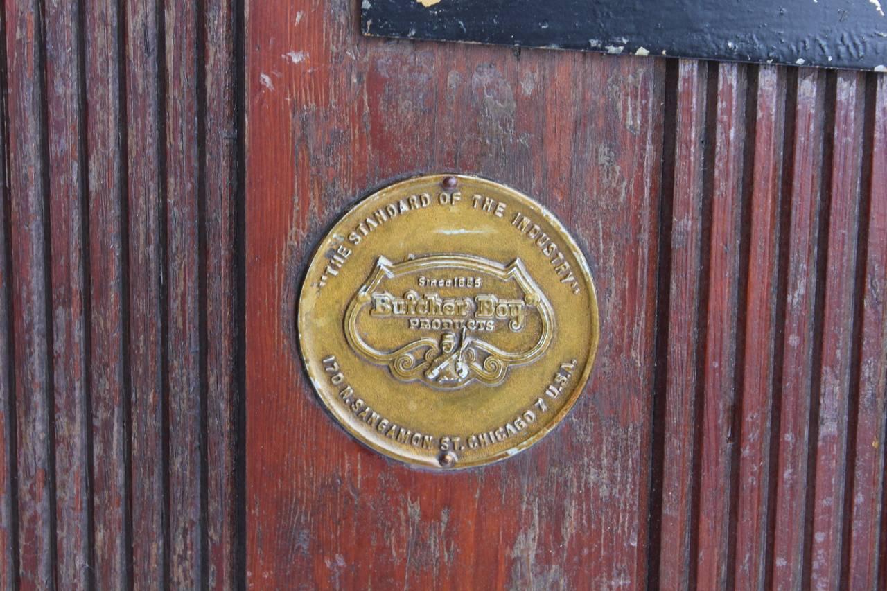 Industrial Large Antique Butcher Shop Refrigerate Doors by Butcher Boy Co.,  Chicago For Sale - Large Antique Butcher Shop Refrigerate Doors By Butcher Boy Co