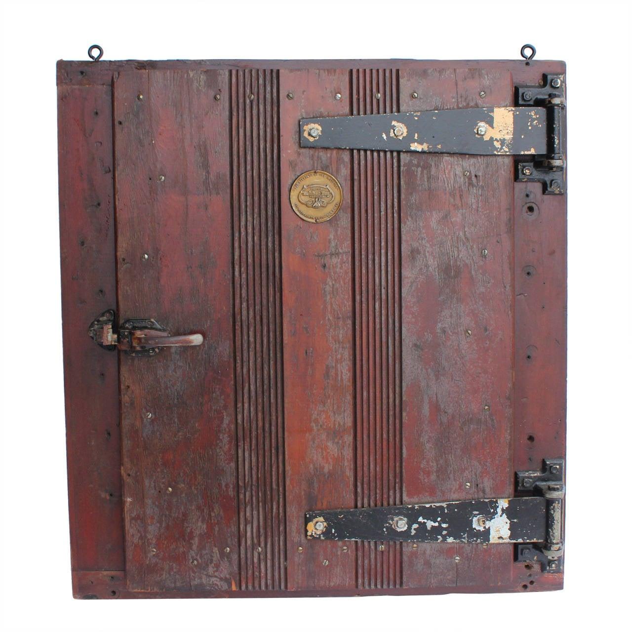 Large Antique Butcher Shop Refrigerate Doors By Butcher Boy Co., Chicago  For Sale