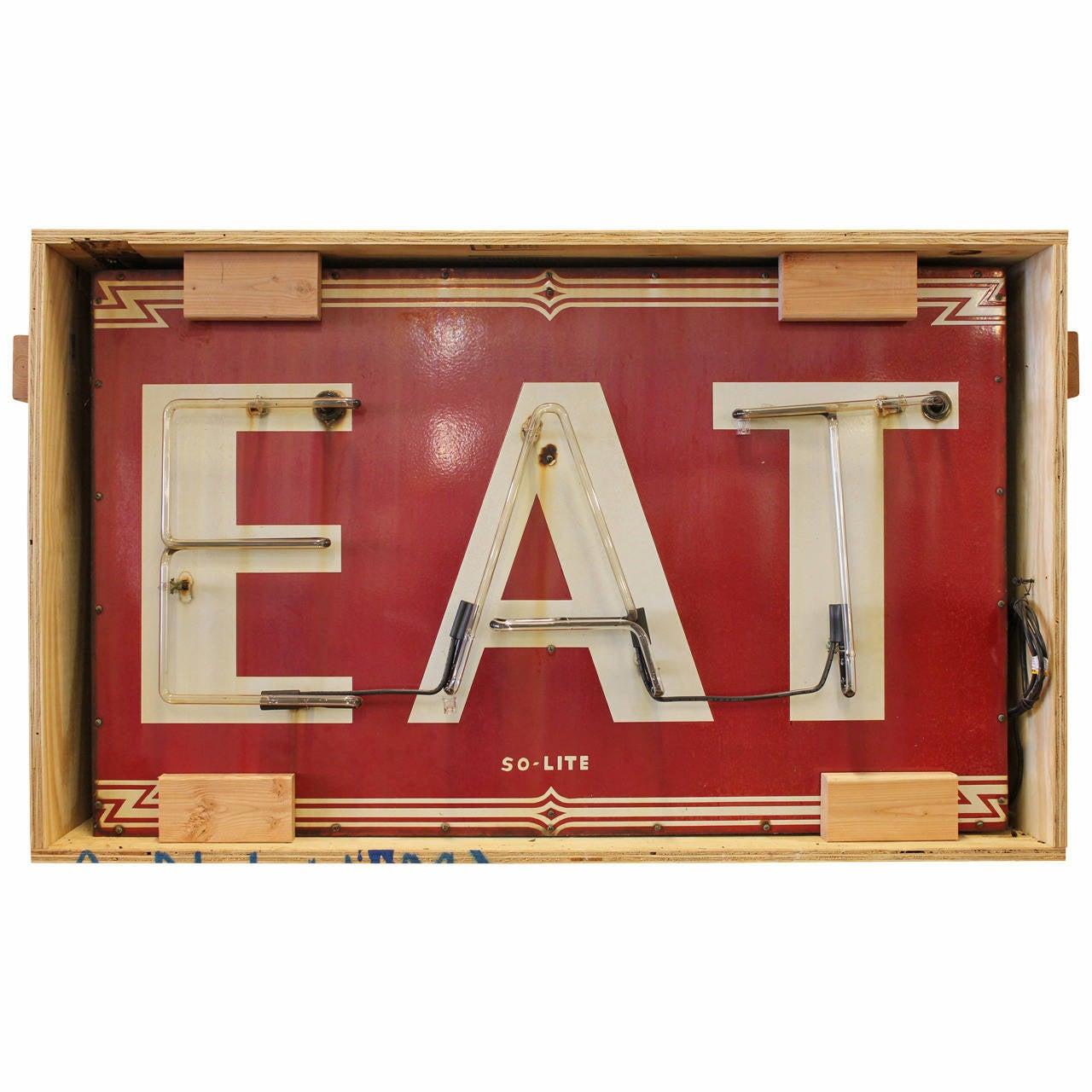 """Art Deco """"EAT"""" Neon Sign"""