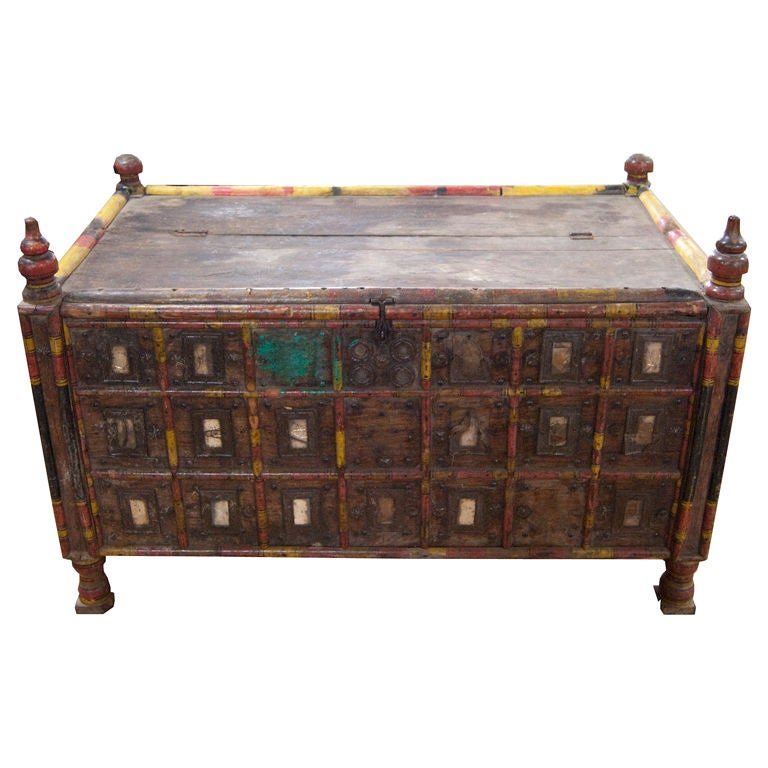 1880 39 s turkish hand painted wooden trunk for sale at 1stdibs
