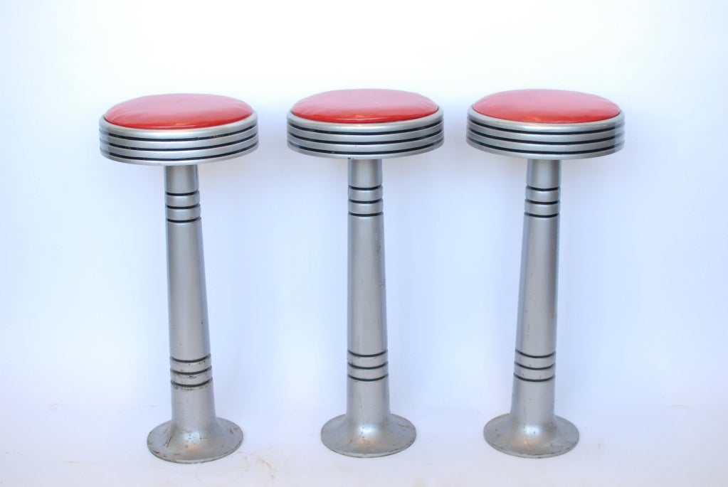 Great set of three Art Deco Style Ice Cream Parlor stools