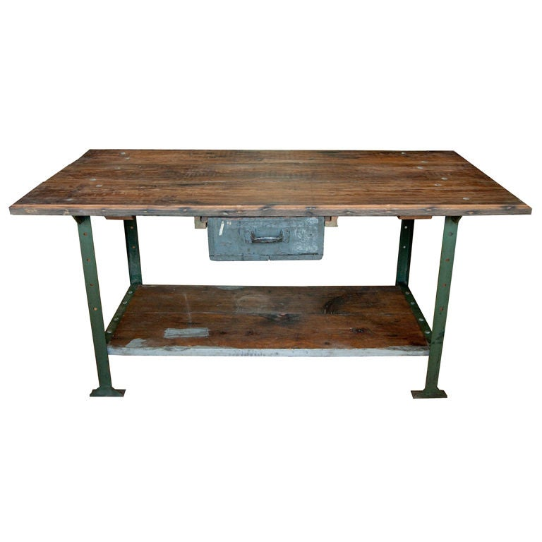 1930 39 s american industrial work table for sale at 1stdibs for Furniture work table