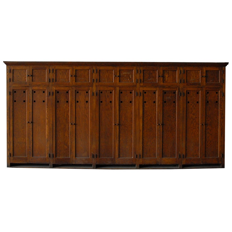School Wooden Cabinets ~ S american school wooden storage locker unit at stdibs