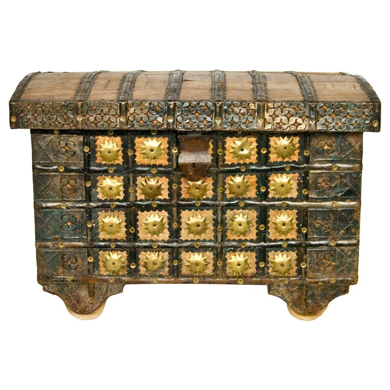 Antique Wooden Travel Trunk With Brass Decorations 1