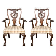 Pair of 1900s English Carved Walnut Armchairs