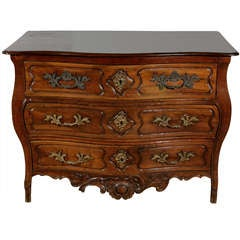 18th Century French Walnut Three-Drawer Serpentine Commode