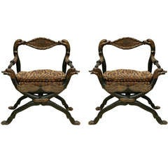 Pair of 18th c. Italian Carved Giltwood Arm Chairs