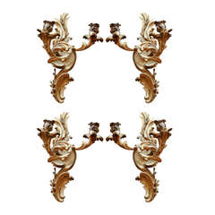 Group of Four 19th Century French Fine Dore Bronze Two Arm Sconces