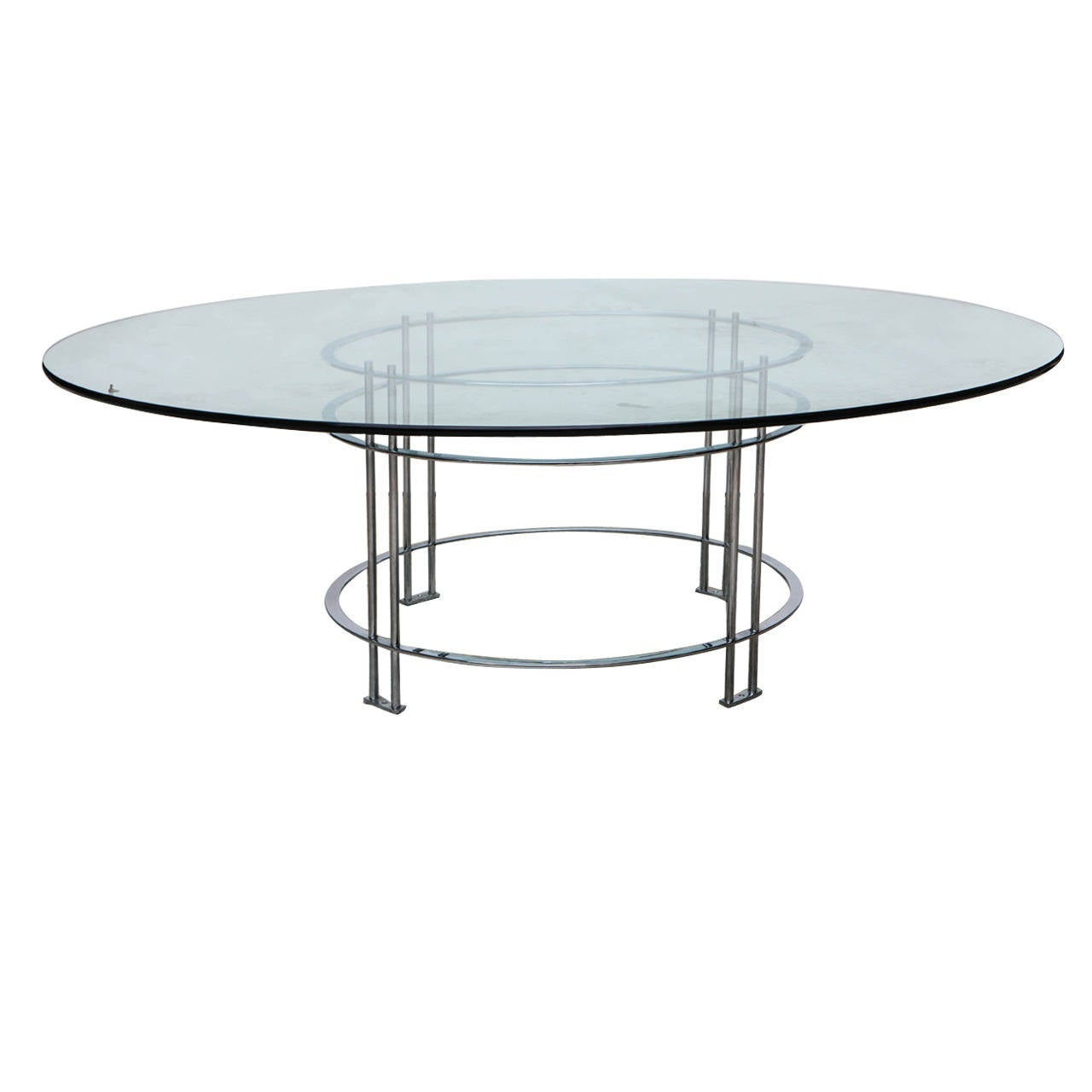 Vintage round dining table with glass top for sale at 1stdibs for Round glass dining table