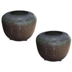 1920s Pair of Monumental Copper Urns
