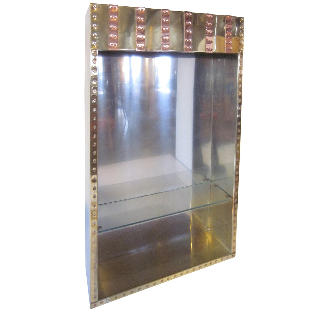 Paul Evans Styled Brutalist Brass and Copper Hanging Cabinet