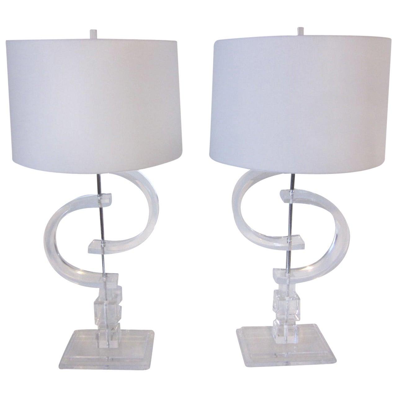 Monumental Lucite Lamps
