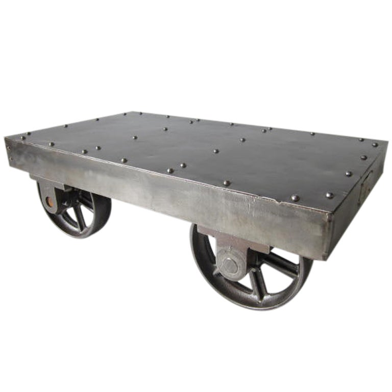 Industrial Coffee Table On Wheels At 1stdibs