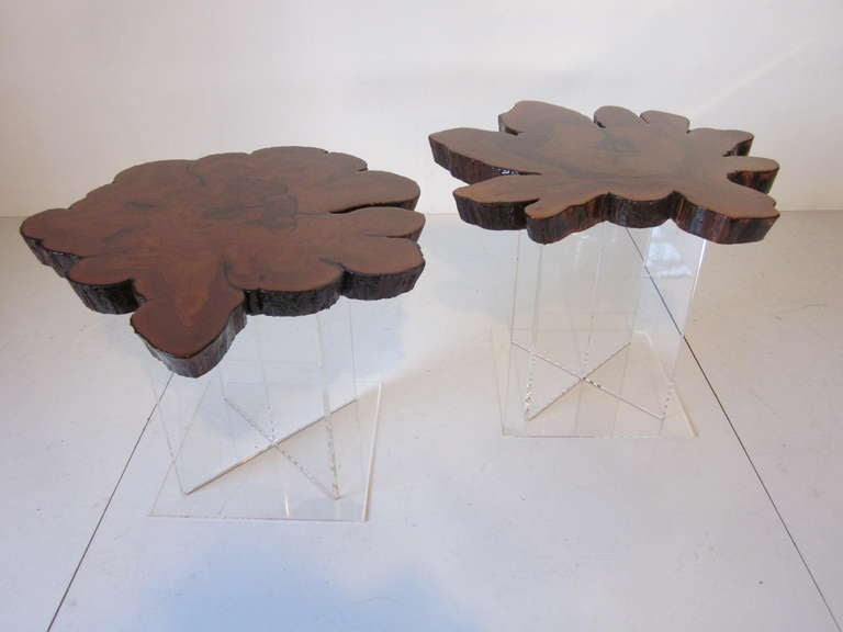 Lucite and Cypress Wood End Tables 2
