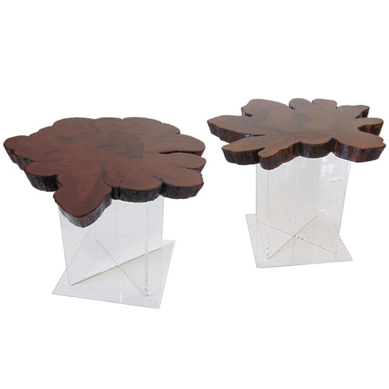 Lucite and Cypress Wood End Tables 1