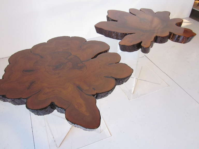Lucite and Cypress Wood End Tables 3