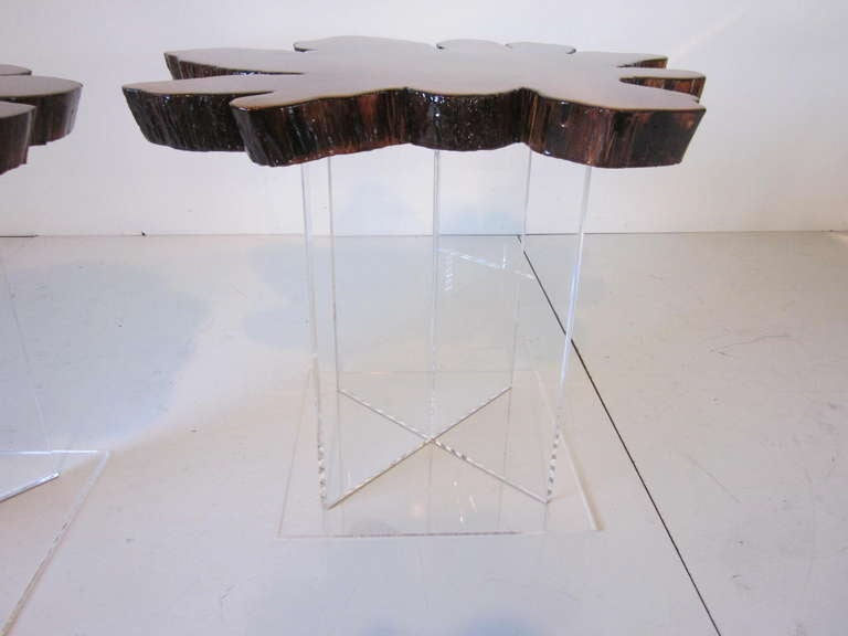 Lucite and Cypress Wood End Tables 6