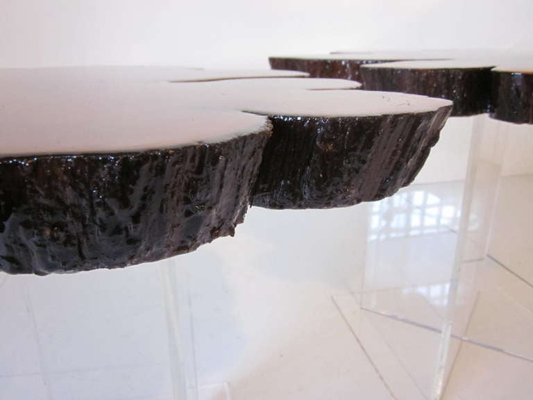 Lucite and Cypress Wood End Tables 7