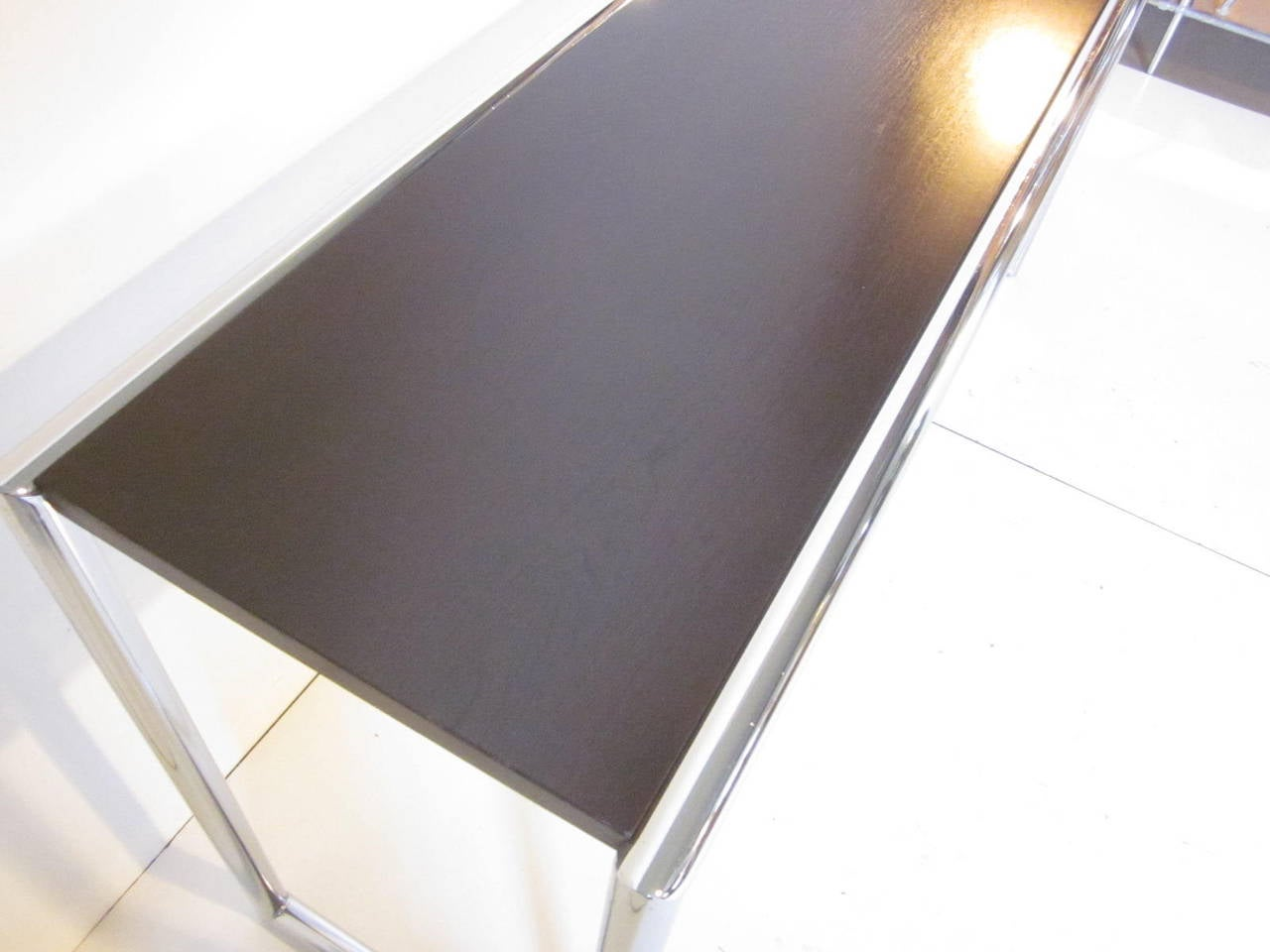 Modern Milo Baughman Styled Chrome Console Table For Sale