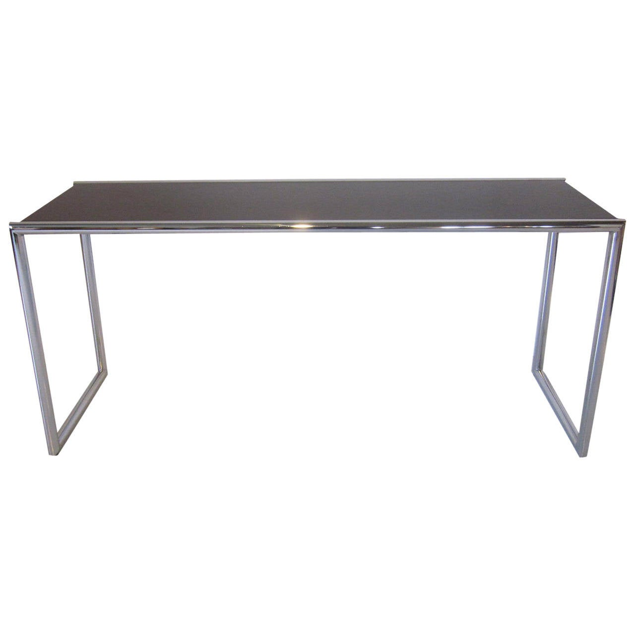Milo Baughman Styled Chrome Console Table