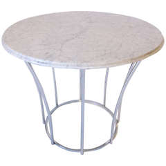Marble and Chrome Based Center or Cafe Table