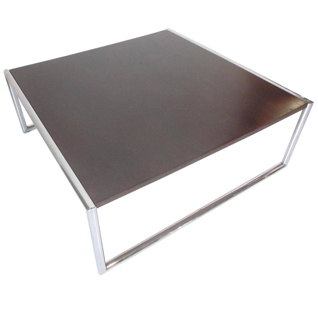 Milo Baughman Style Chrome and Ebony Coffee Table