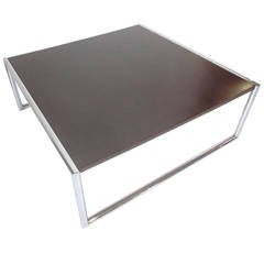 Milo Baughman Style Chrome and Ebony Coffee Table