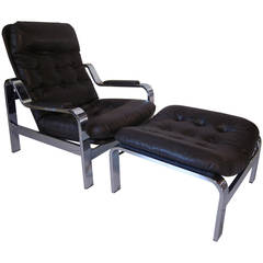 Chromed Lounge Chair with Ottoman for Selig