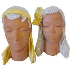 Wiener Werkstatte Styled Terracotta Busts